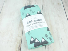 Mountains + Trees Organic Swaddling Blanket - Mint / Charcoal Gray / White - CAVU Creations