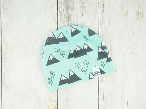 Mountains + Trees Organic Beanie - Mint / Charcoal Gray / White - CAVU Creations