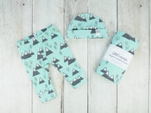 Mountains + Trees Organic Baby Leggings - Mint / Charcoal Gray / White - CAVU Creations