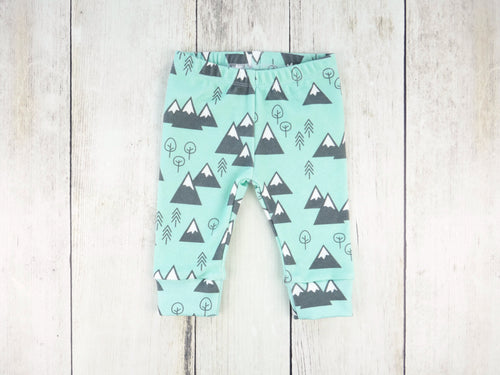 Mountains + Trees Organic Baby Leggings - Charcoal Gray / White / Mint - CAVU Creations
