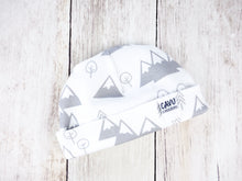 Mountains + Trees Organic Beanie - Light Gray / White - CAVU Creations