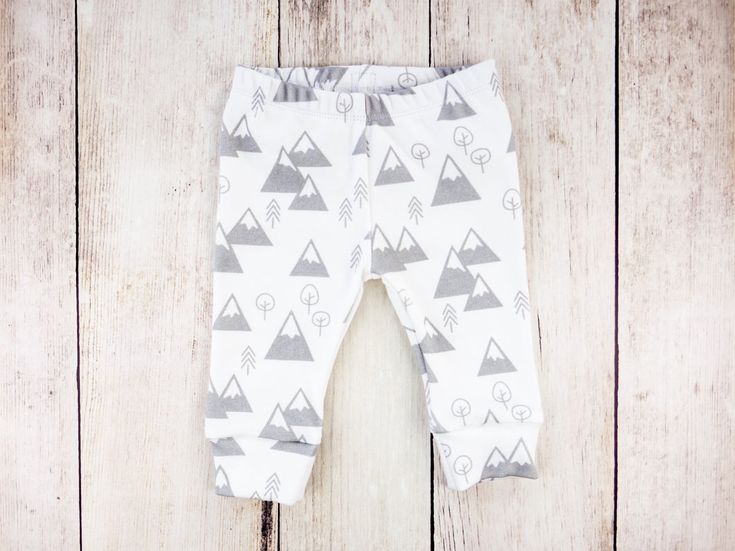 Mountains + Trees Organic Baby Leggings - Light Gray / White - CAVU Creations