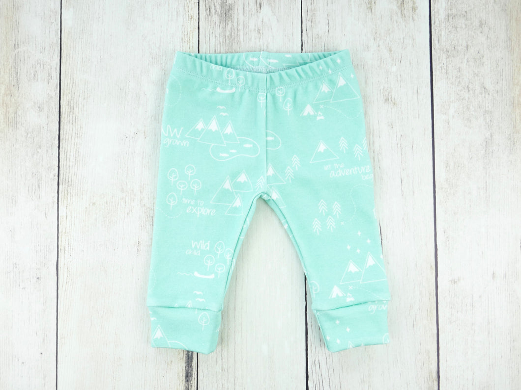 PNW Organic Baby Leggings - White / Mint - CAVU Creations