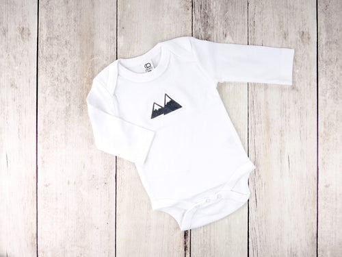 Mountains Organic Bodysuit - White / Charcoal Gray - CAVU Creations