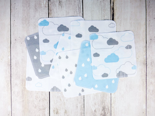 Clouds Organic Reusable Wipes (Set of 8) - Aqua / Gray / White - CAVU Creations