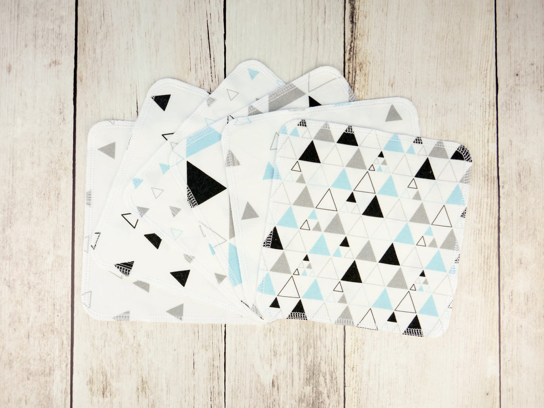 Triangles Organic Reusable Wipes (Set of 6) - Aqua / Black / Gray - CAVU Creations