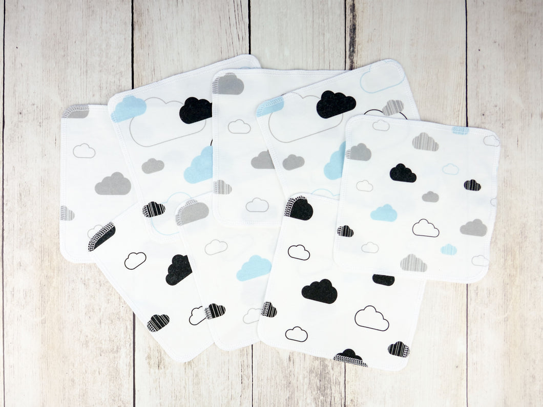 Clouds Organic Reusable Wipes (Set of 8) - Aqua / Gray / Black - CAVU Creations