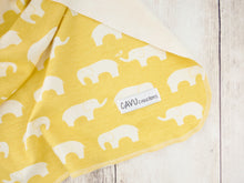 Elephants Organic Swaddling Blanket - White / Yellow - CAVU Creations