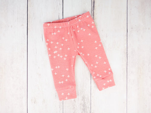 Plus Signs (Wink) Organic Baby Leggings - White / Pink