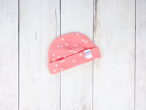 Plus Signs (Wink) Organic Beanie - White / Pink - CAVU Creations