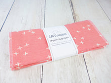 Plus Signs (Wink) Organic Burp Cloths (Set of 2) - White / Pink - CAVU Creations