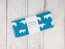 Elephant Organic Burp Cloths (Set of 2) - White / Teal - CAVU Creations