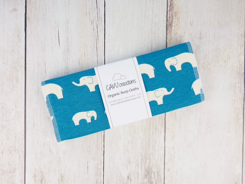 Elephant Organic Burp Cloths (Set of 2) - White / Teal
