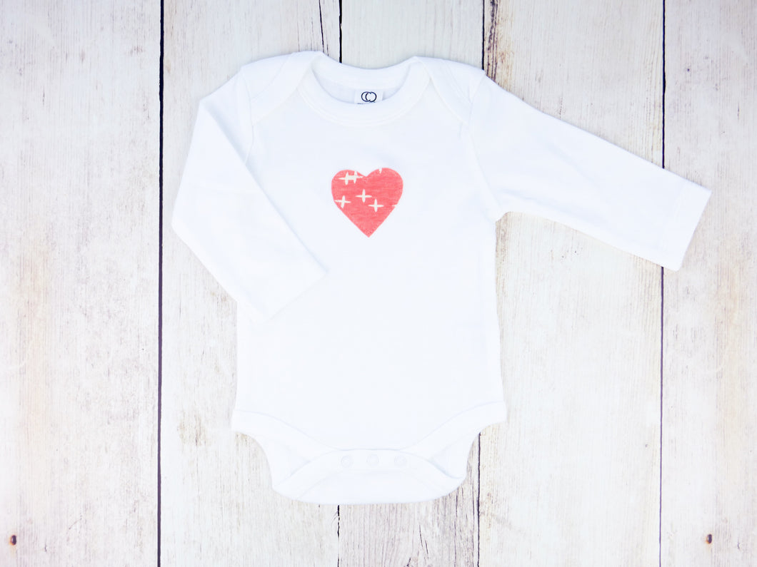 Heart Organic Bodysuit - Pink / White - CAVU Creations