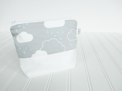 Clouds + Rain Zipper Pouch - White / Mint / Gray - CAVU Creations