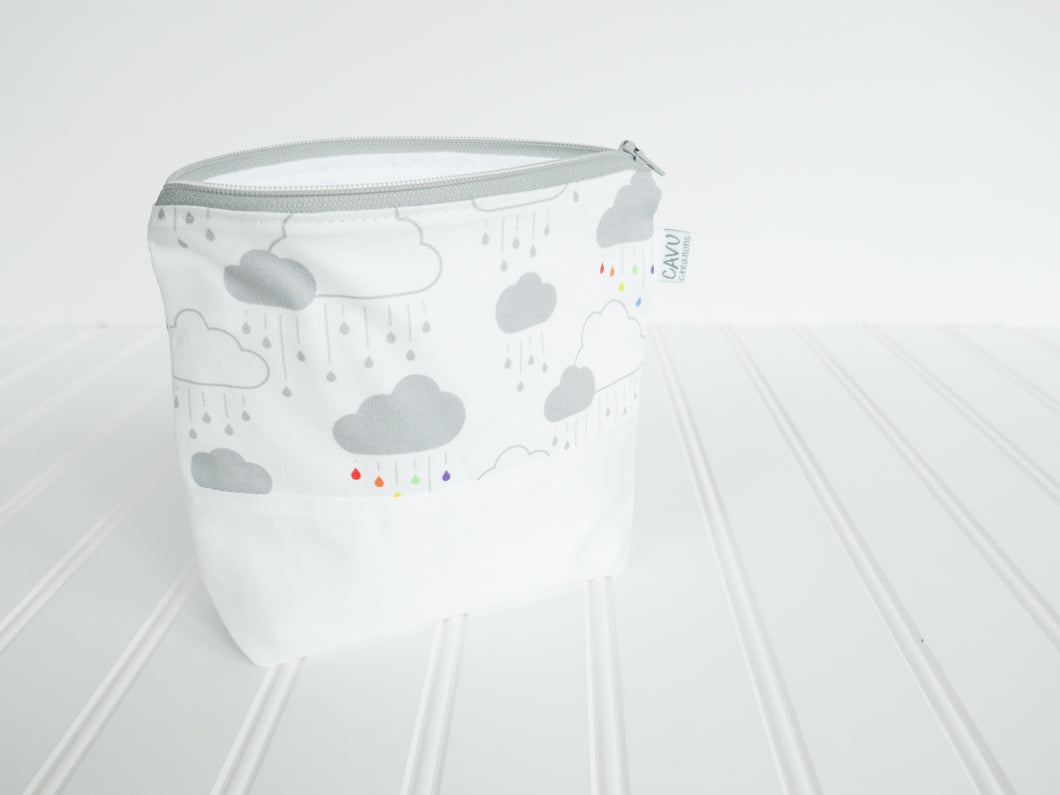 Clouds + Rain Zipper Pouch - Gray / Rainbow / White - CAVU Creations