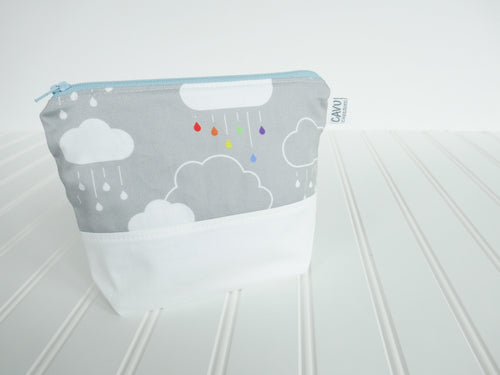Clouds + Rain Zipper Pouch - White / Rainbow / Gray - CAVU Creations