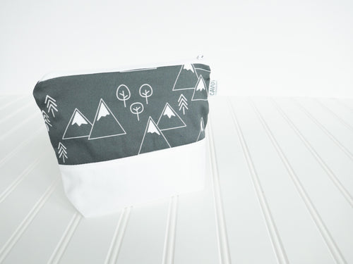 Mountains + Trees Zipper Pouch - White / Charcoal Gray - CAVU Creations