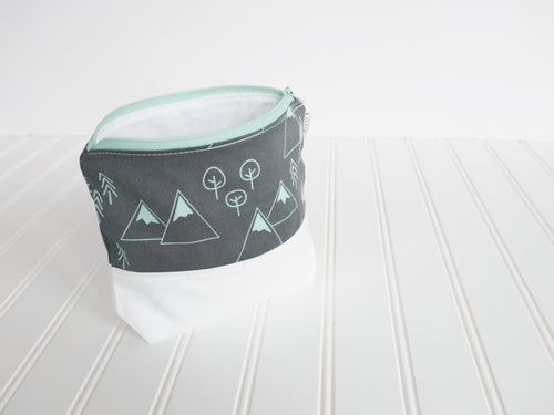 Mountains + Trees Zipper Pouch - Charcoal Gray / Mint - CAVU Creations