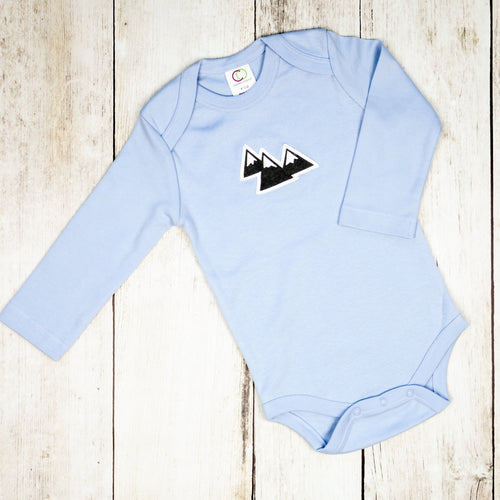Mountains Organic Bodysuit - Sky Blue  / Charcoal Gray - CAVU Creations