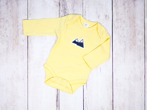 Mountains Organic Bodysuit - Yellow / Charcoal Gray - CAVU Creations