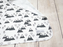 Mountains + Trees Organic Swaddling Blanket - Charcoal Gray / White - CAVU Creations
