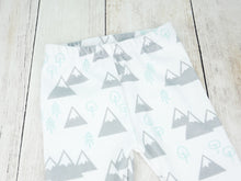 Mountains + Trees Organic Baby Leggings - Mint / Light Gray / White - CAVU Creations