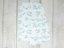 PNW Organic Burp Cloth - Mint / Forest Green / Gray / White - CAVU Creations
