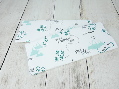 PNW Organic Burp Cloths (Set of 2) - Mint / Forest Green / Gray / White