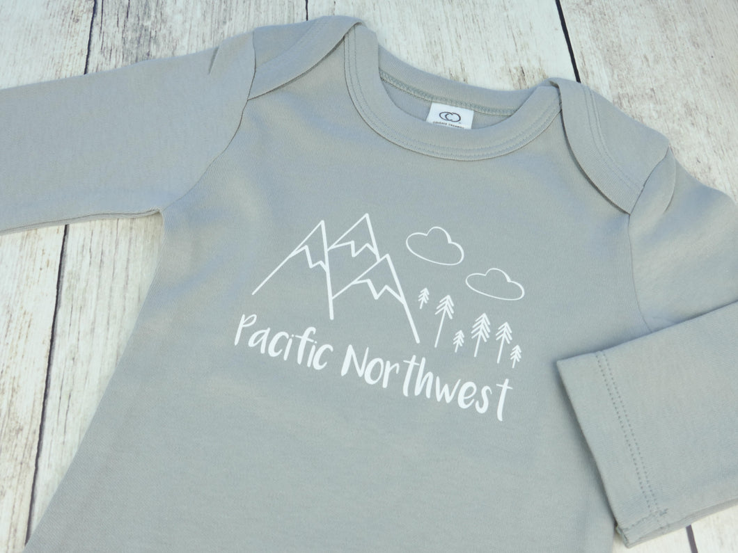 Pacific Northwest Organic Bodysuit - Gray / White (Short) - CAVU Creations