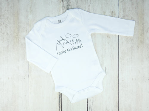 Pacific Northwest Organic Bodysuit - White / Gray - CAVU Creations