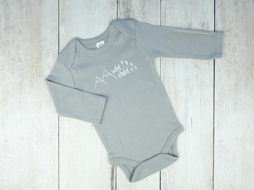 Wild Child Organic Bodysuit - Gray / White - CAVU Creations
