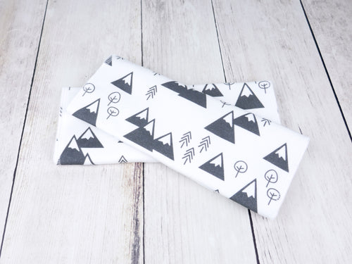 Mountains + Trees Organic Burp Cloths (Set of 2) - Charcoal Gray / White - CAVU Creations