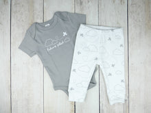 Airplane / Future Pilot Organic Bodysuit - Gray / White (Short) - CAVU Creations