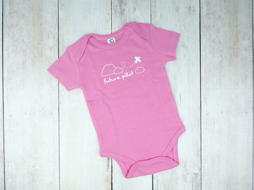 Airplane / Future Pilot Organic Bodysuit - Pink / White (Short)