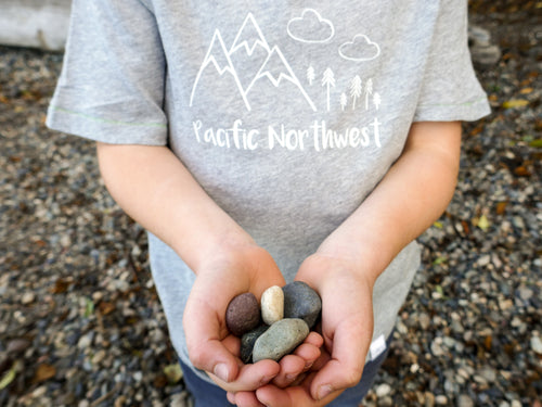Pacific Northwest Organic Tee - Heather Gray / White - CAVU Creations
