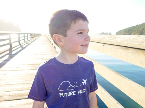Airplane / Future Pilot Organic Toddler Tee - Navy / White