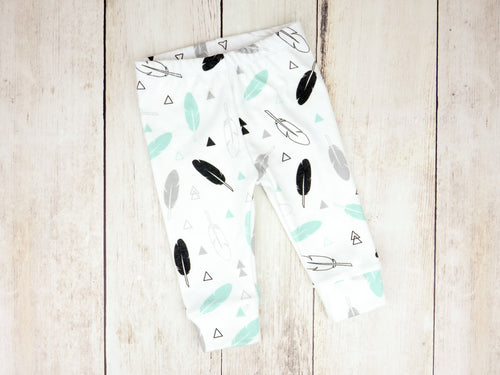 Tribal Feathers Organic Baby Leggings - Mint / Gray / Black