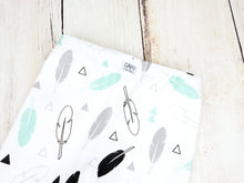 Tribal Feathers Organic Baby Leggings - Mint / Gray / Black - CAVU Creations