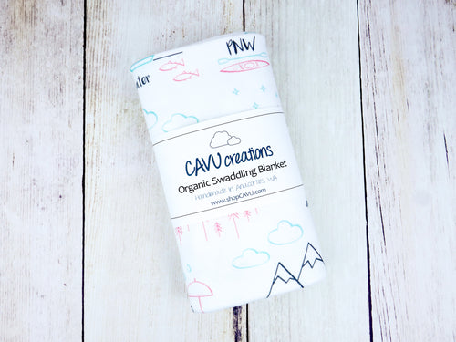 Perfectly PNW Organic Swaddling Blanket - Pink / Mint / Gray / White