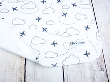 Jets in Clouds Organic Swaddling Blanket - Charcoal Gray / White - CAVU Creations