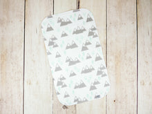 Mountains + Trees Organic Burp Cloths (Set of 2) - Mint / Light Gray / White - CAVU Creations