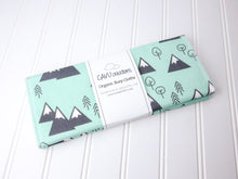 Mountains + Trees Organic Burp Cloths (Set of 2) - Mint / Charcoal Gray / White - CAVU Creations