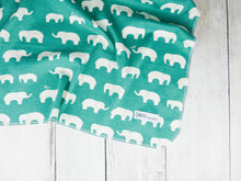 Elephants Organic Swaddling Blanket - White / Green - CAVU Creations