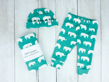 Elephants Organic Beanie - White / Green - CAVU Creations