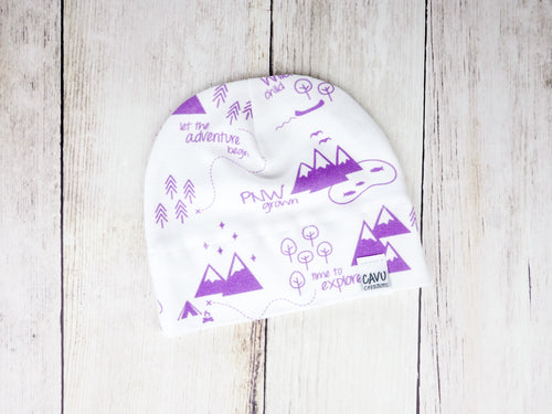 PNW Organic Beanie - Purple / White - CAVU Creations