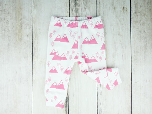 Mountains + Trees Organic Baby Leggings - Coral Pink / White - CAVU Creations
