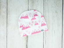 Mountains + Trees Organic Beanie - Coral Pink / White - CAVU Creations