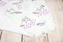 Perfectly PNW Organic Swaddling Blanket - Purple / Mint / Gray / White - CAVU Creations