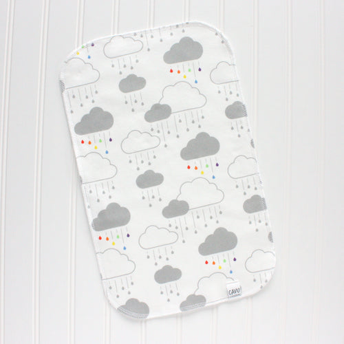 Clouds + Rain Organic Burp Cloth - Rainbow / Gray - CAVU Creations